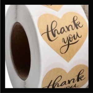 2/$12 100pcs Heart Thank You Stickers Kraft Paper